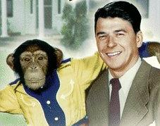 Bedtime for Bonzo poster showing Ronald Reagan with a chimpanzee